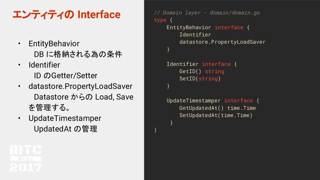 エンティティの Interface • EntityBehavior  DB に格納される為の...
