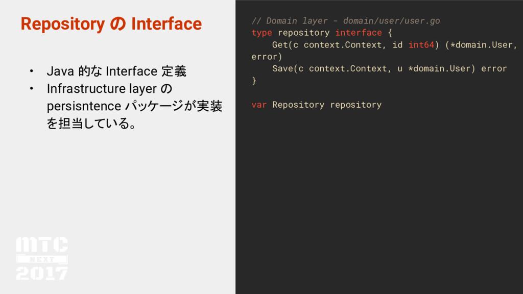 Repository の Interface • Java 的な Interface 定義 •...