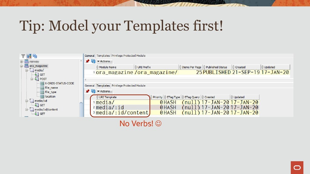 Tip: Model your Templates first! No Verbs! ☺