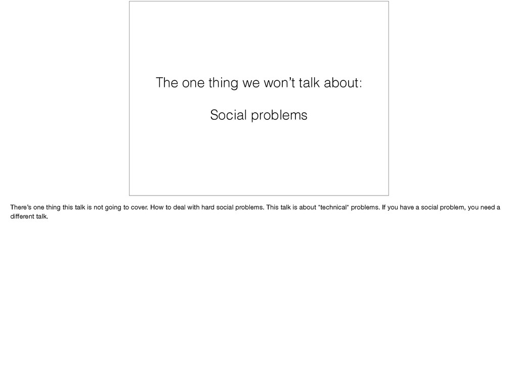 The one thing we won't talk about: Social probl...
