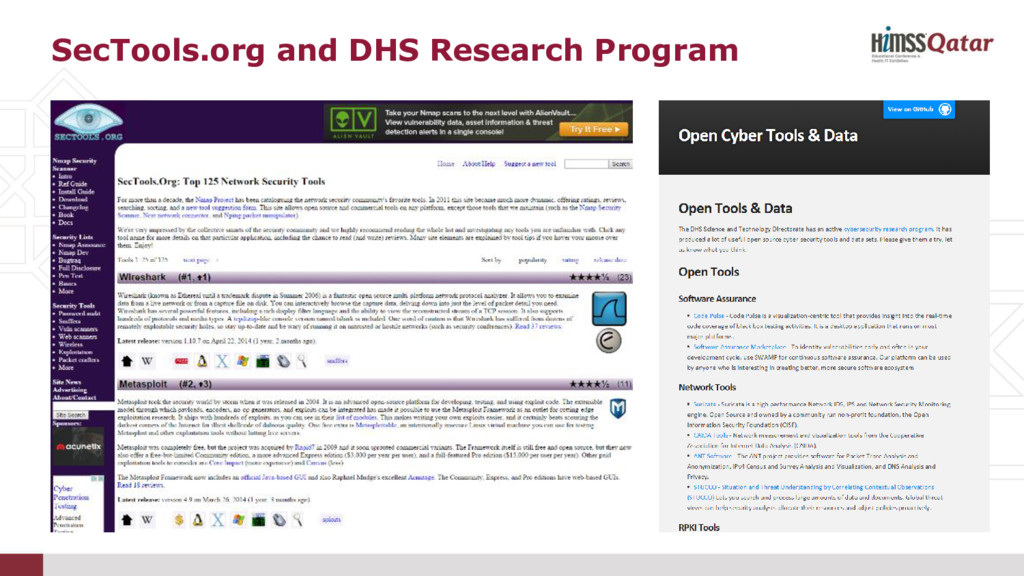 SecTools.org and DHS Research Program
