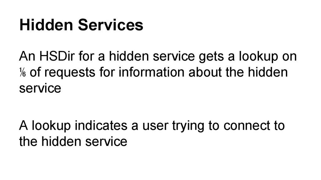 Hidden Services An HSDir for a hidden service g...
