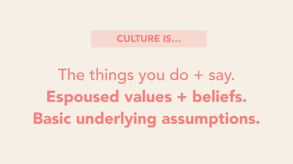 The things you do + say. Espoused values + beli...