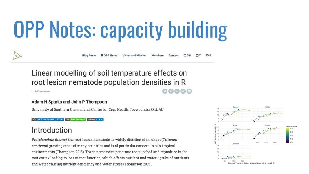 OPP Notes: capacity building