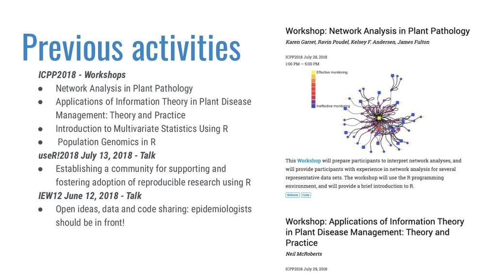 Previous activities ICPP2018 - Workshops ● Netw...