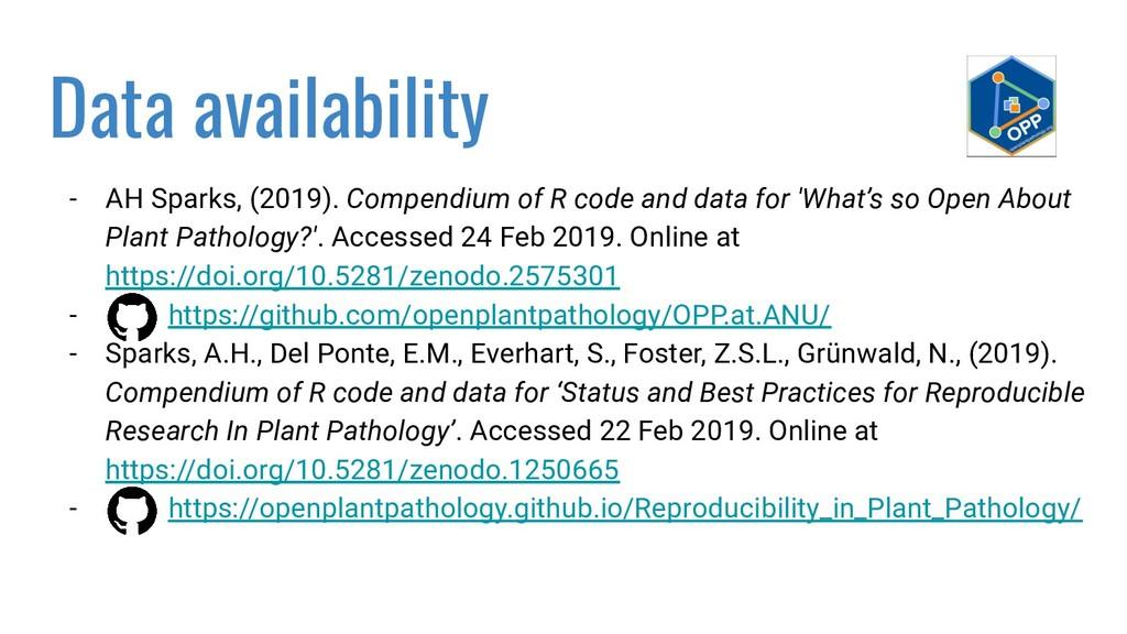 Data availability - AH Sparks, (2019). Compendi...