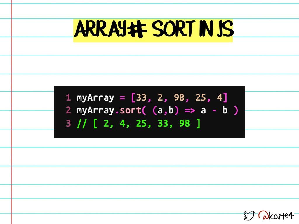 @koste4 ARRAY SORT IN JS # 1 myArray = [33, 2, ...