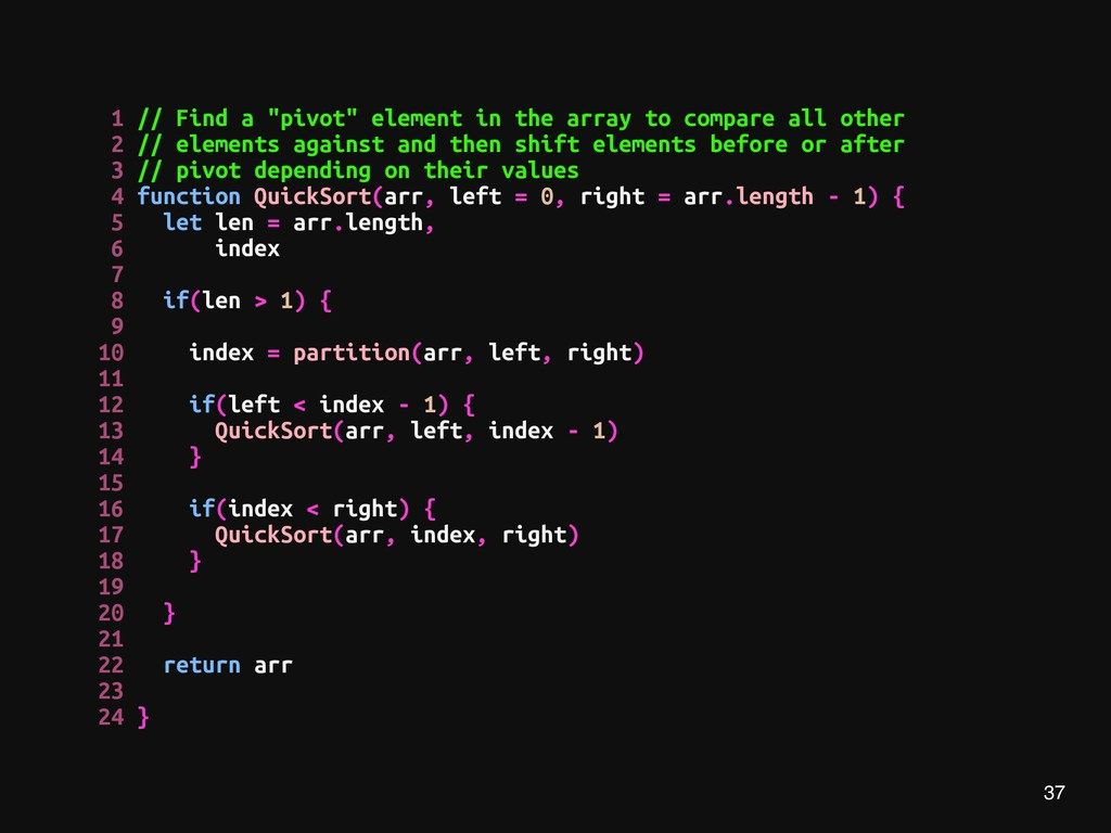 """37 1 // Find a """"pivot"""" element in the array to ..."""