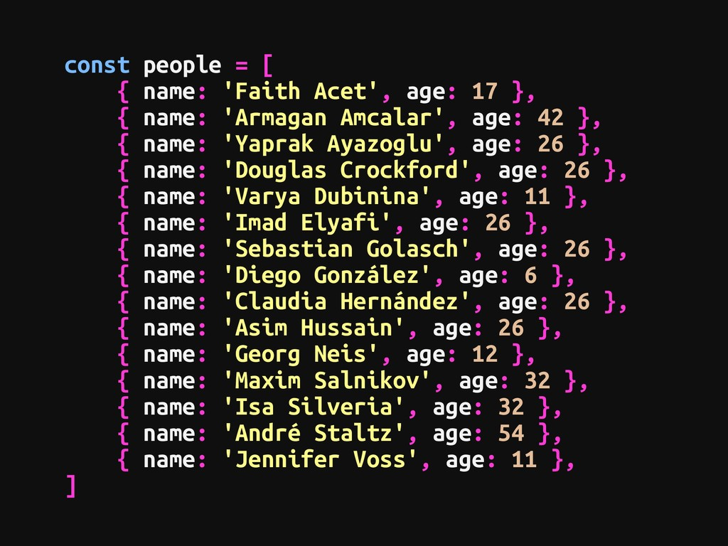 const people = [ { name: 'Faith Acet', age: 17 ...