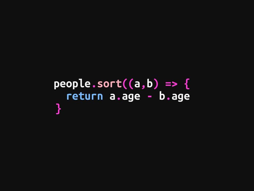 people.sort((a,b) => {  return a.age - b.age }
