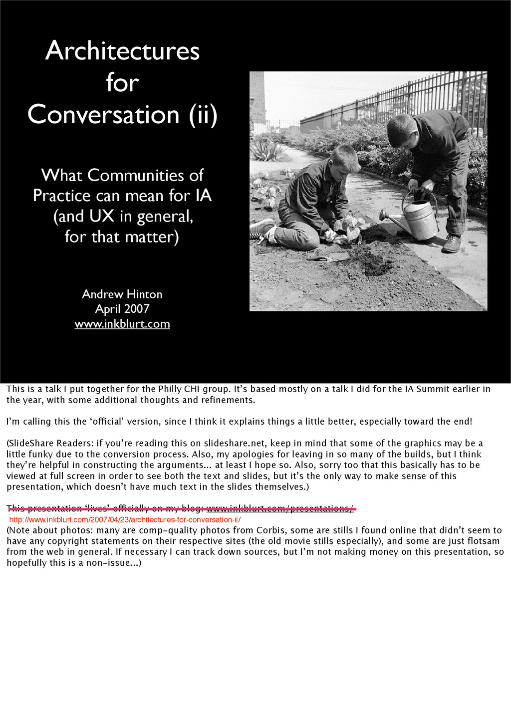 Architectures for Conversation (ii) What Commun...