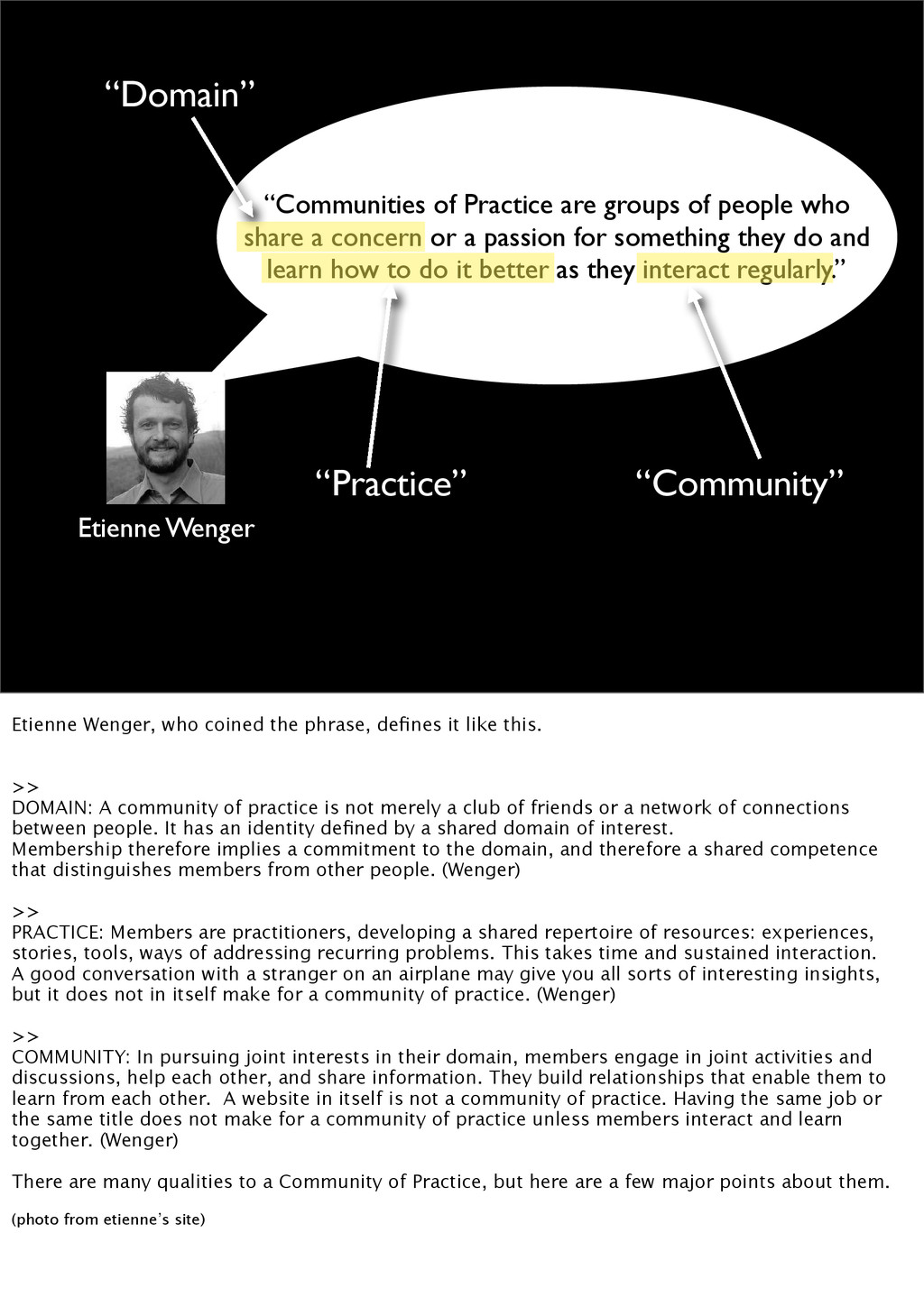 """Communities of Practice are groups of people w..."