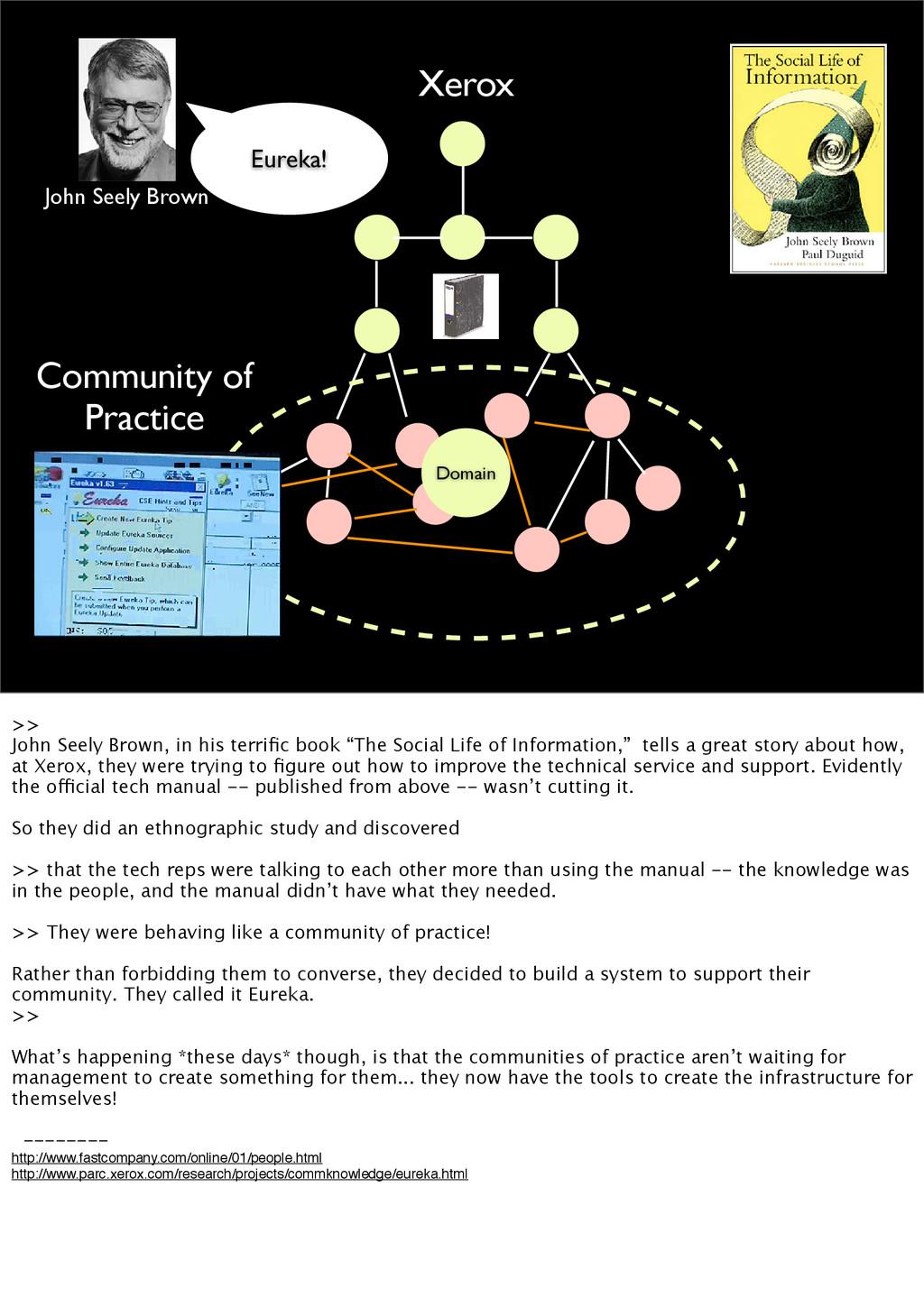 Xerox Domain Community of Practice John Seely B...
