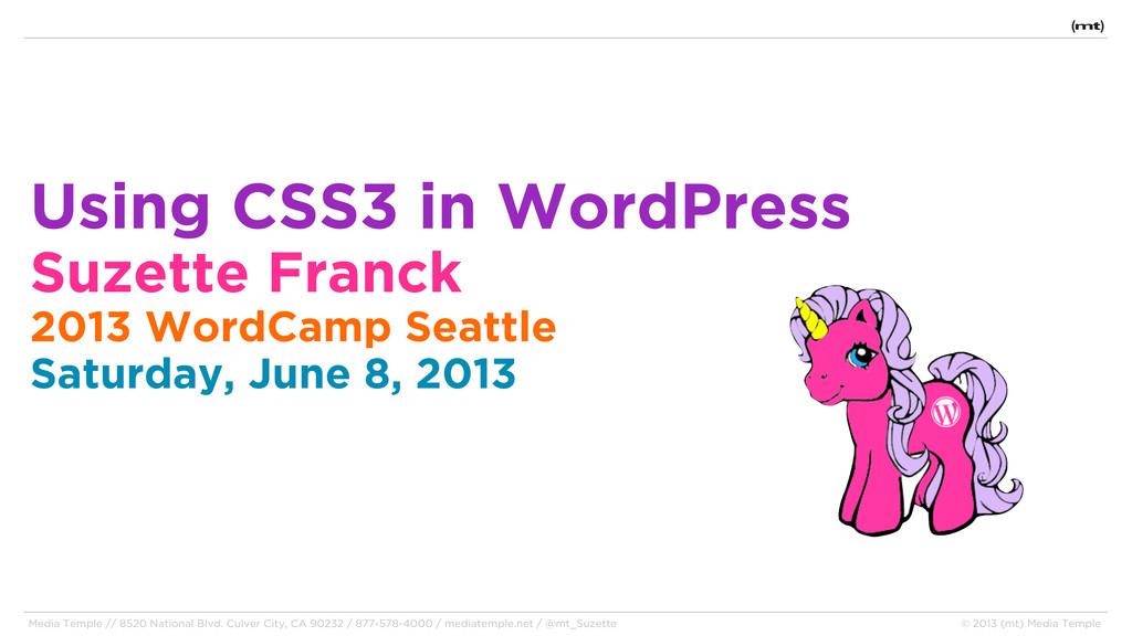 Using CSS3 in WordPress Suzette Franck 2013 Wor...