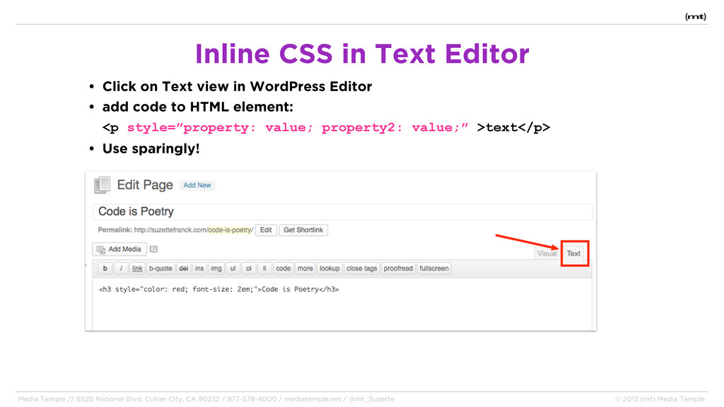 • Click on Text view in WordPress Editor • add ...