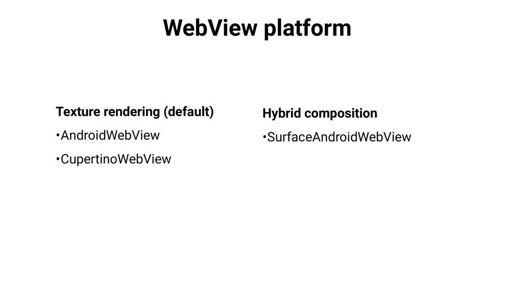 WebView platform Texture rendering (default) •A...