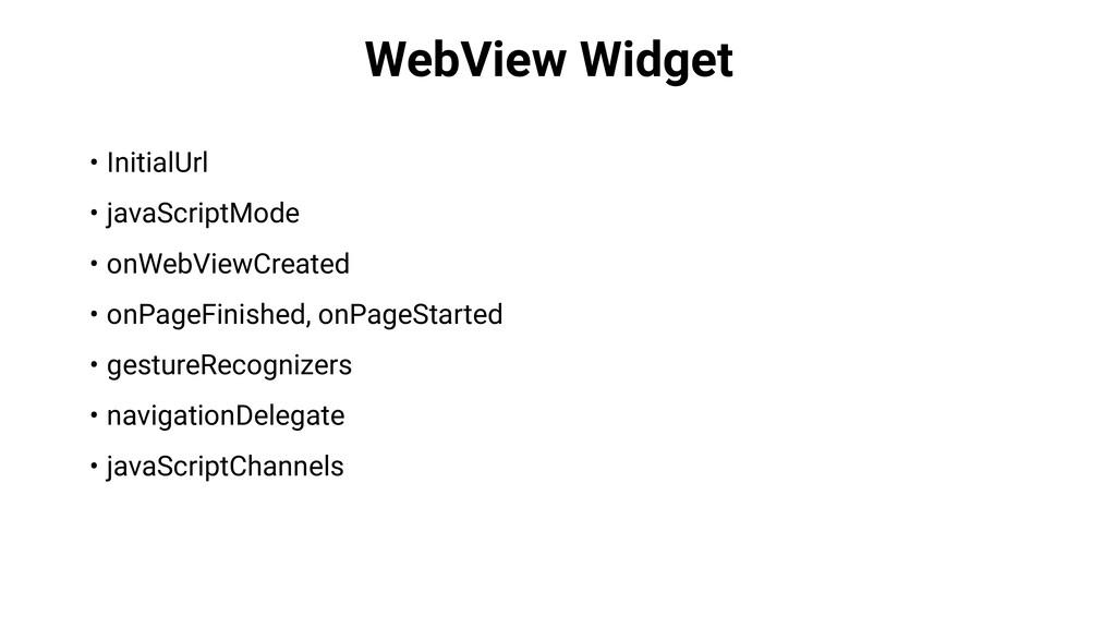 WebView Widget • InitialUrl • javaScriptMode • ...