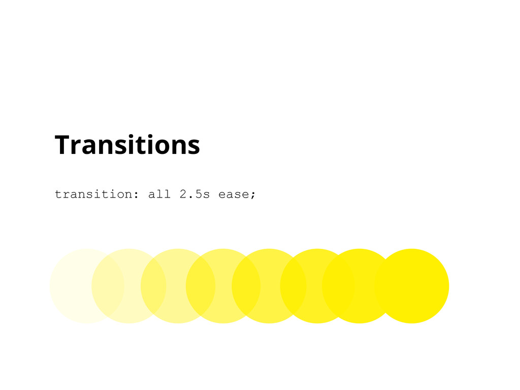 Transitions transition: all 2.5s ease;
