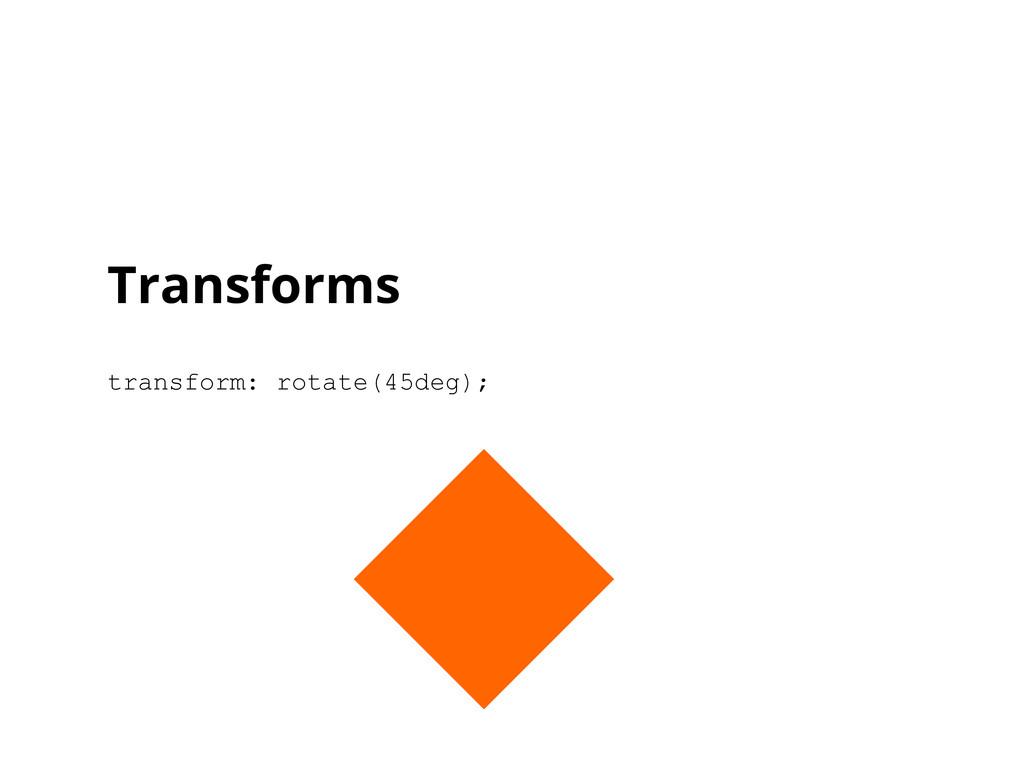 Transforms transform: rotate(45deg);