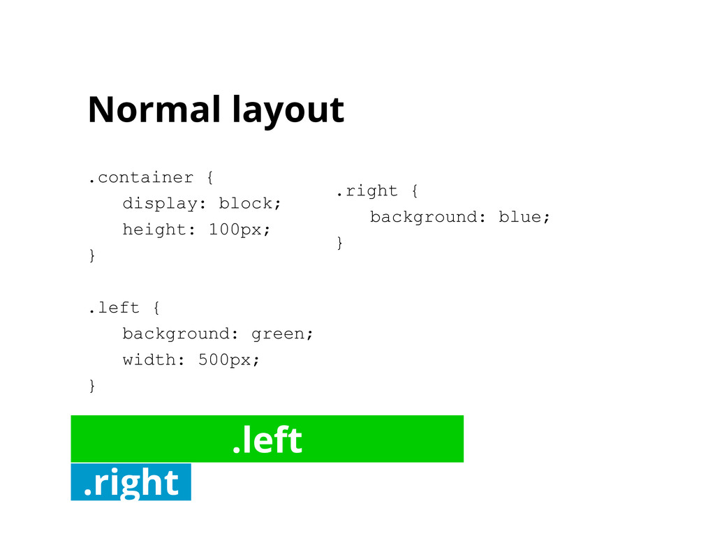 Normal layout .container { display: block; heig...