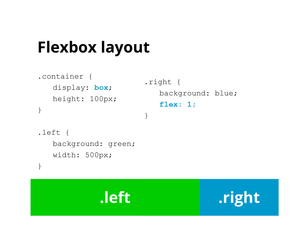 Flexbox layout .container { display: box; heigh...