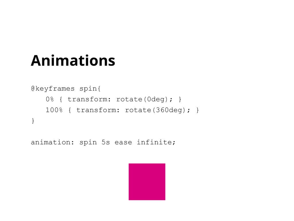 Animations @keyframes spin{ 0% { transform: rot...
