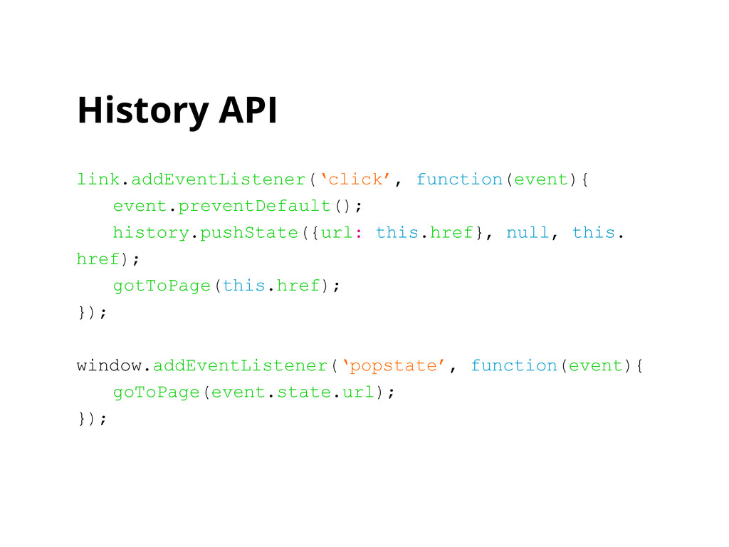 History API link.addEventListener('click', func...