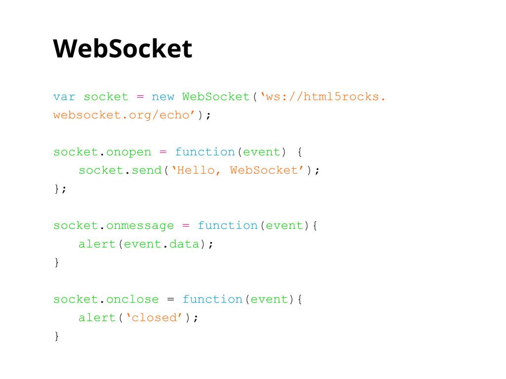 WebSocket var socket = new WebSocket('ws://html...