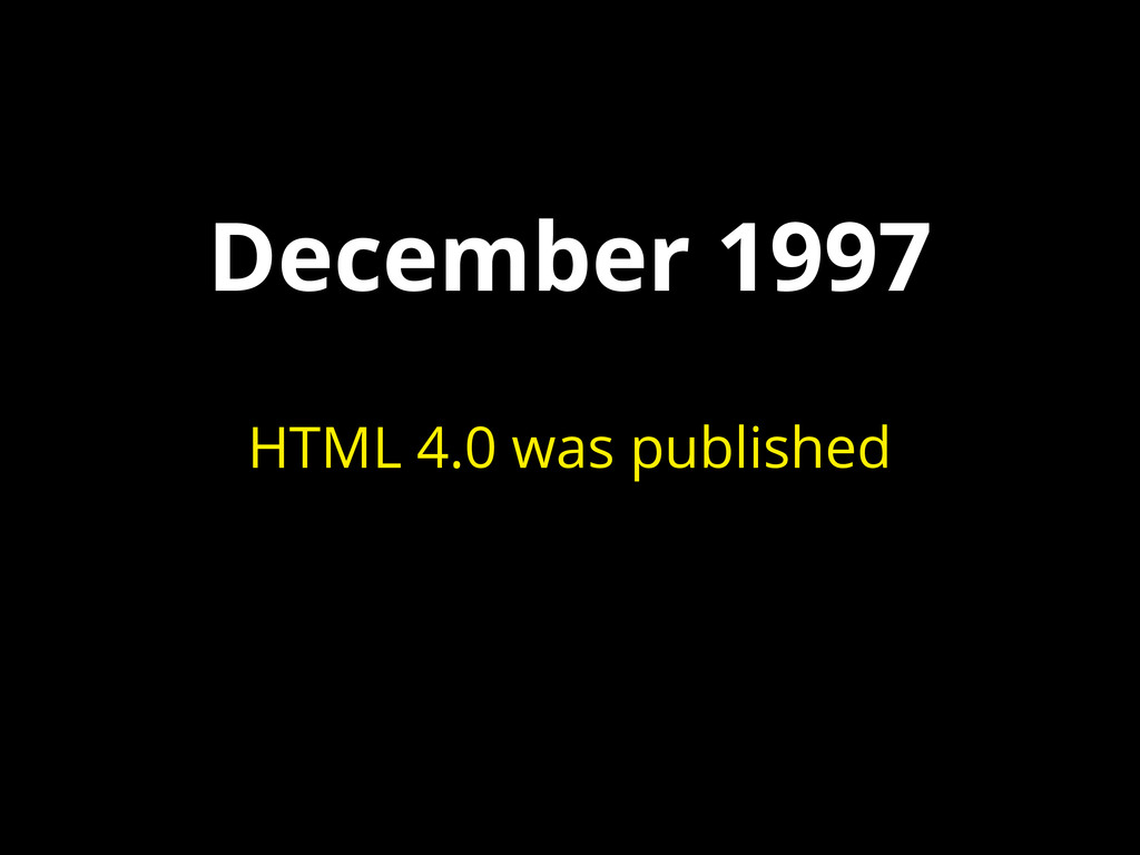 December 1997 HTML 4.0 was published