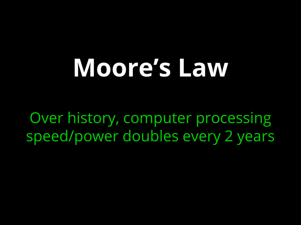 Moore's Law Over history, computer processing s...