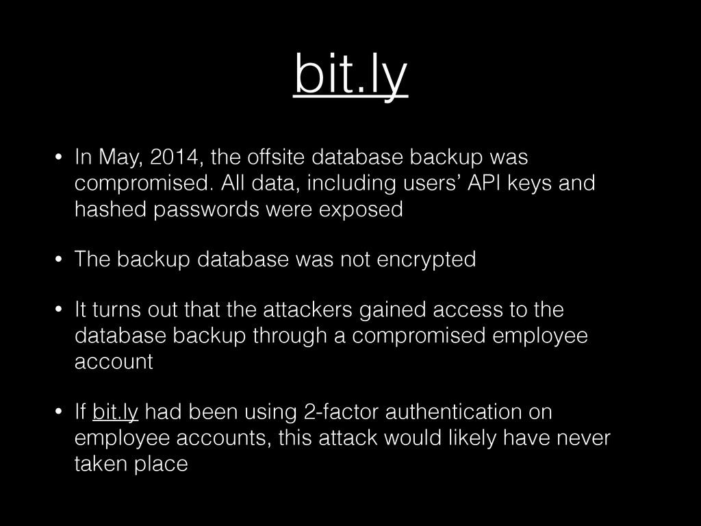 bit.ly • In May, 2014, the offsite database bac...