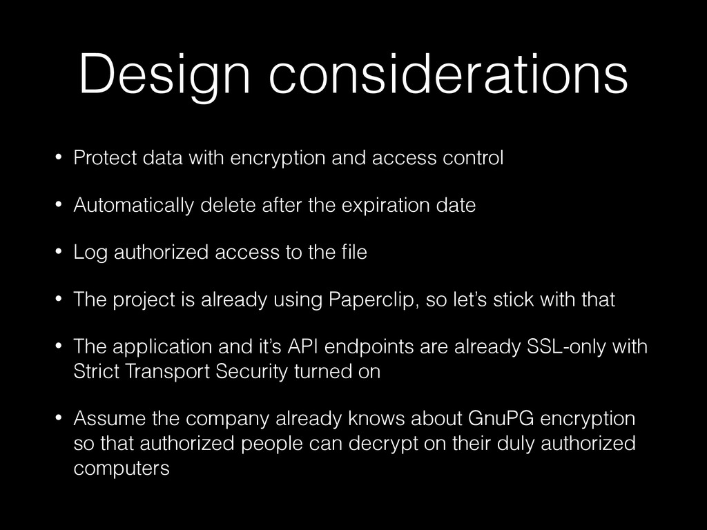 Design considerations • Protect data with encry...