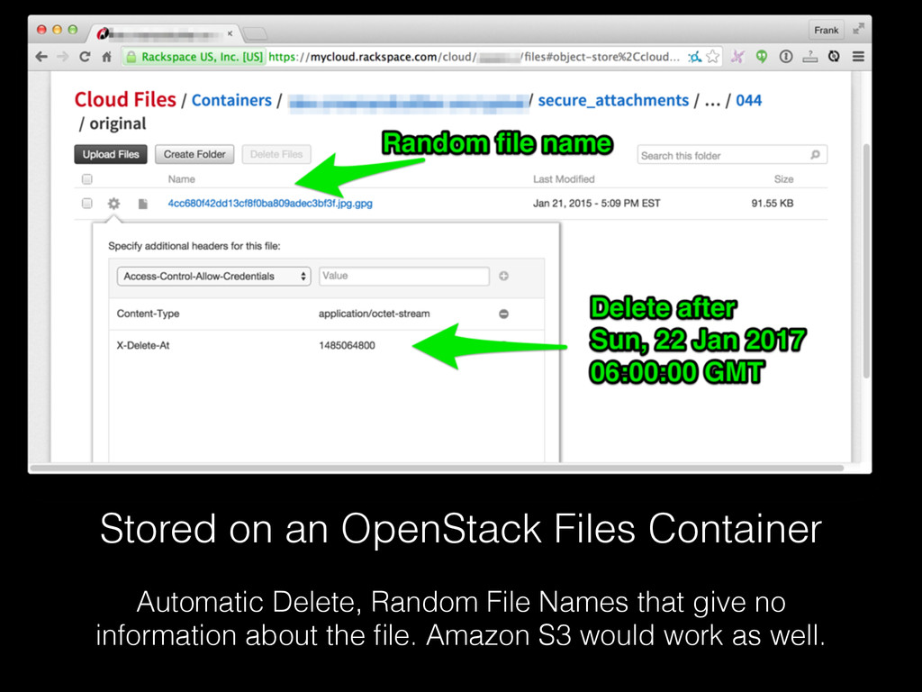 Stored on an OpenStack Files Container Automati...