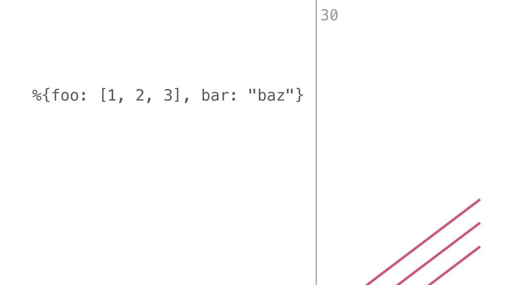 """%{foo: [1, 2, 3], bar: """"baz""""} 30"""