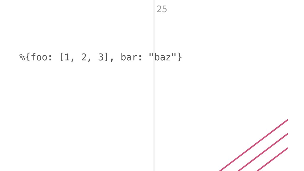 """%{foo: [1, 2, 3], bar: """"baz""""} 25"""