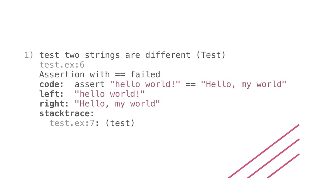 1) test two strings are different (Test) test.e...