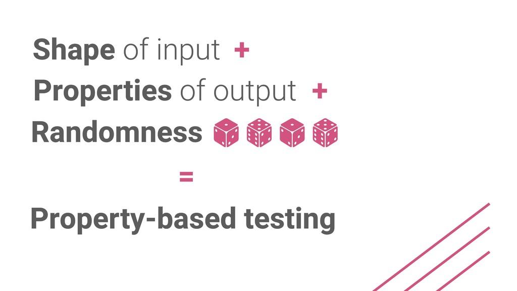 Shape of input Properties of output + + Randomn...