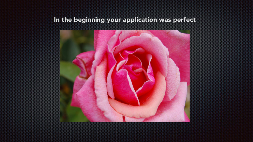 In the beginning your application was perfect