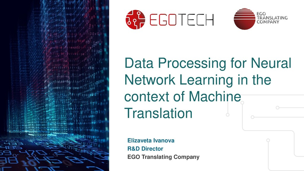 Data Processing for Neural Network Learning in ...