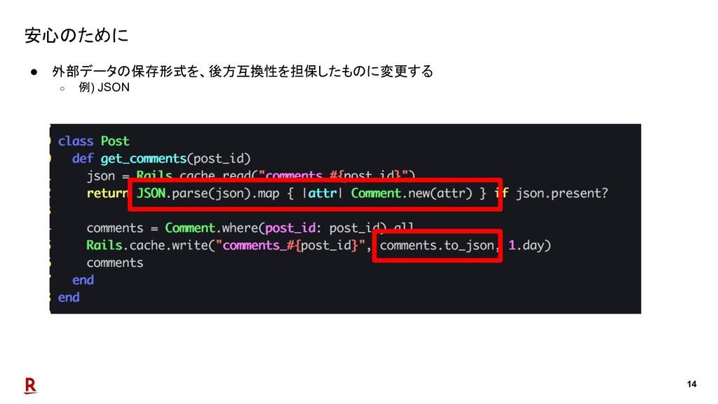 14 安心のために ● 外部データの保存形式を、後方互換性を担保したものに変更する ○ 例) ...