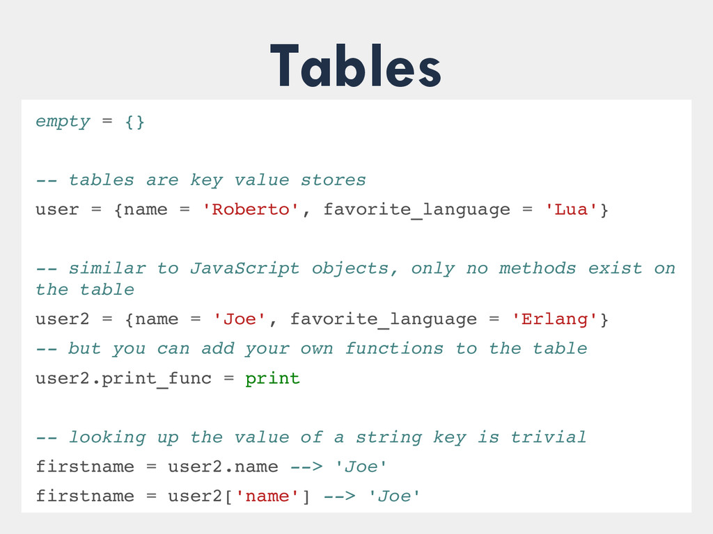 Tables empty = {}  tables are key value store...
