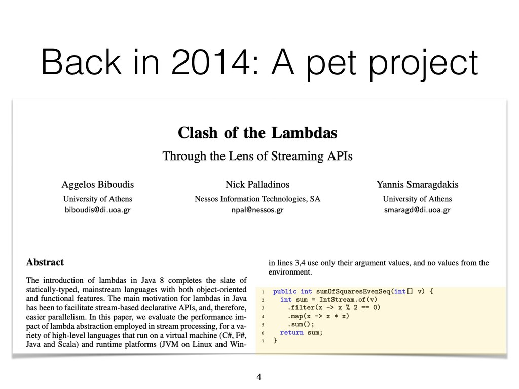 Back in 2014: A pet project 4