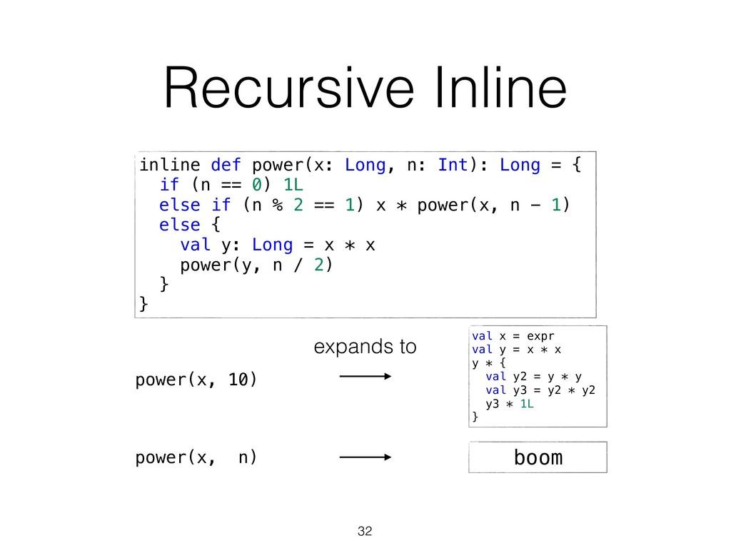 Recursive Inline 32 inline def power(x: Long, n...