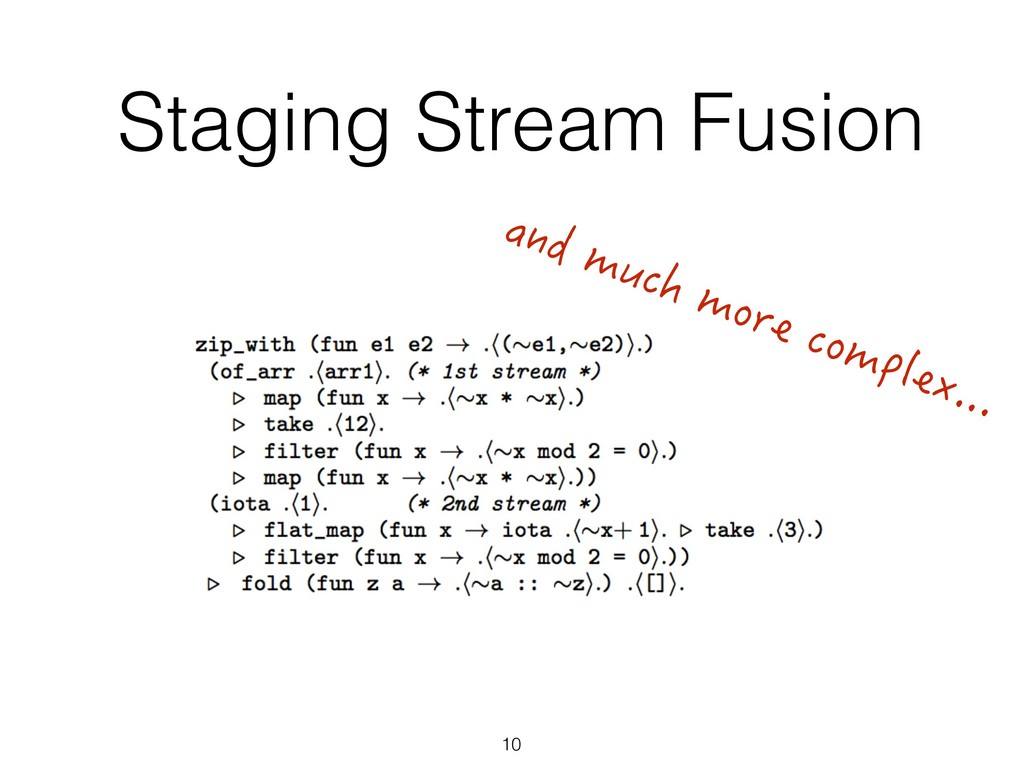 Staging Stream Fusion 10 and much more complex....
