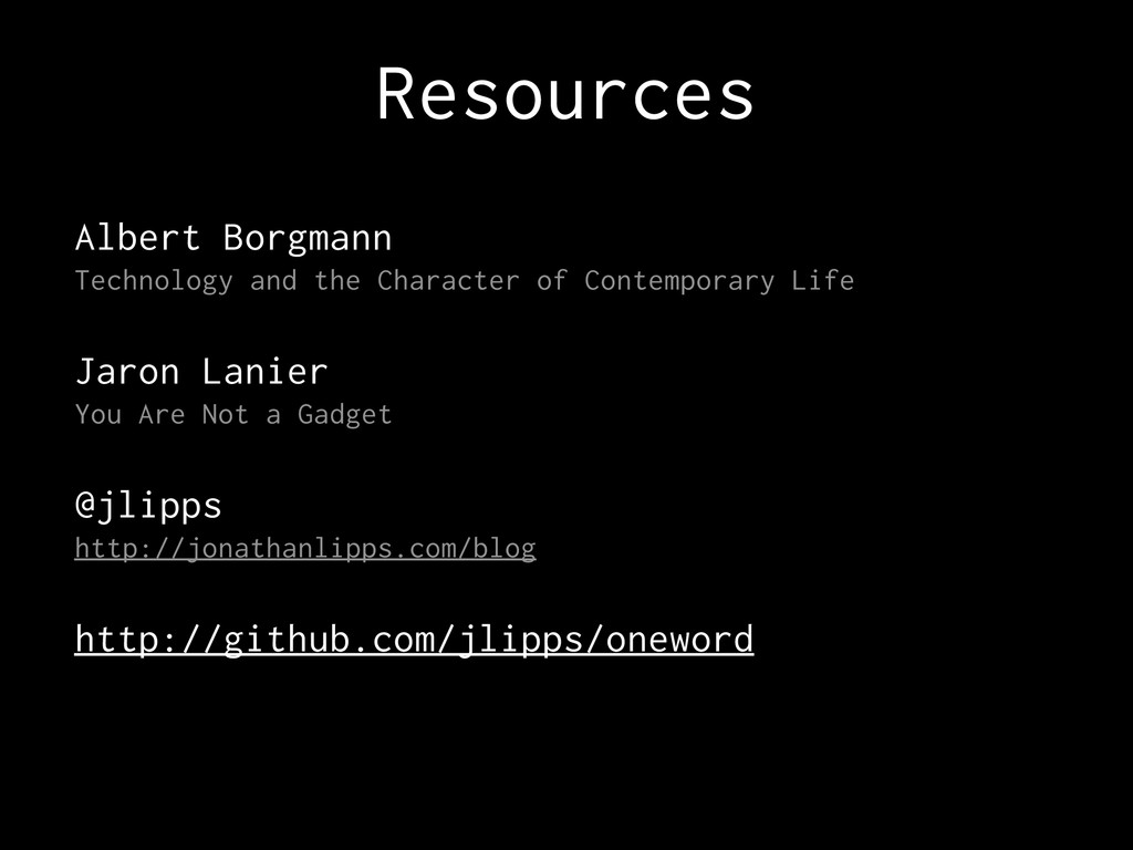 Resources Albert Borgmann Technology and the Ch...