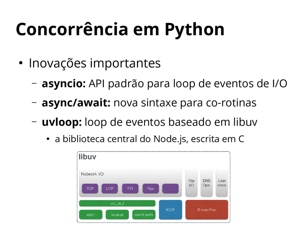 Concorrência em Python ● Inovações importantes ...