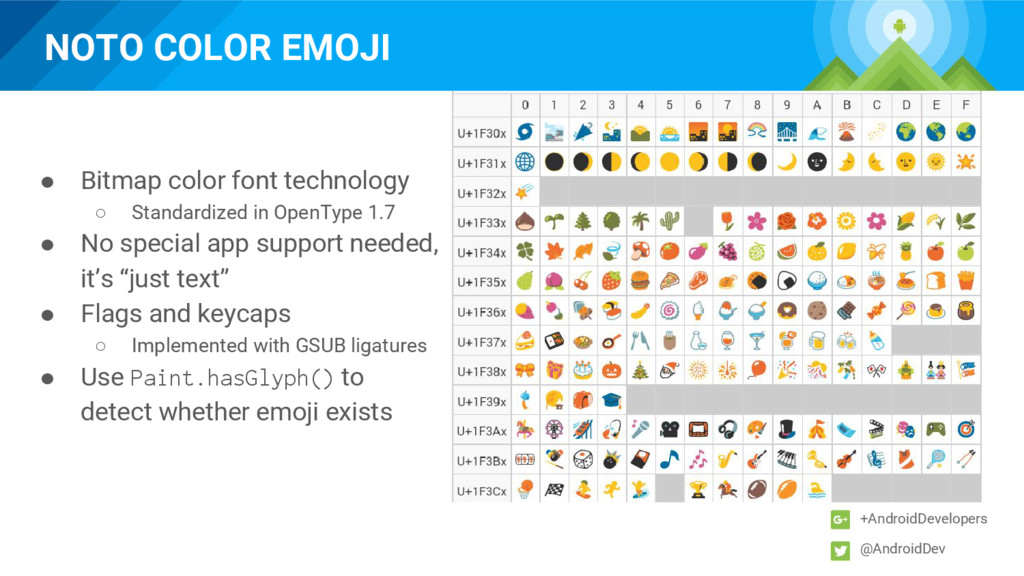 NOTO COLOR EMOJI +AndroidDevelopers @AndroidDev...