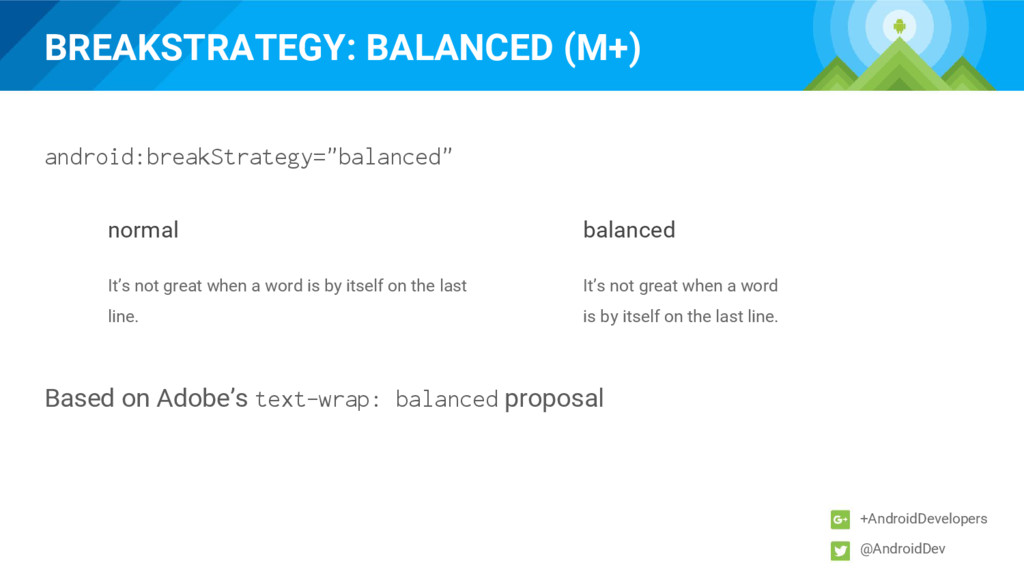 BREAKSTRATEGY: BALANCED (M+) +AndroidDevelopers...