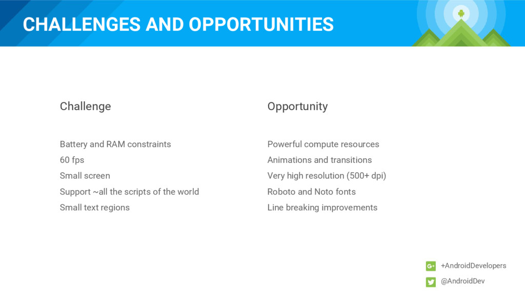 CHALLENGES AND OPPORTUNITIES +AndroidDevelopers...