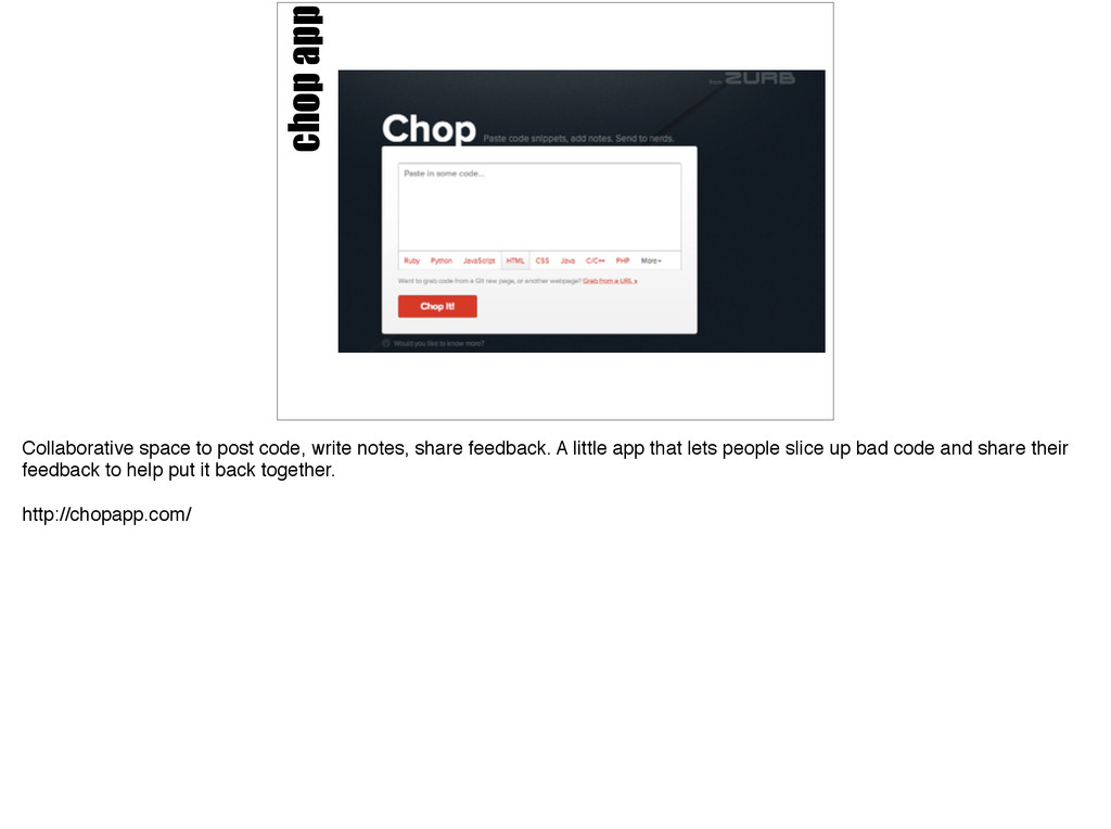 chop app Collaborative space to post code, writ...